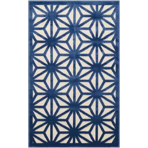 Stanhope Geometric Ivory/Blue Area Rug by Willa Arlo Interiors