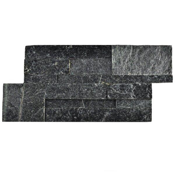 Piedro 7 x 13.5 Natural Stone Splitface Tile in Black by EliteTile