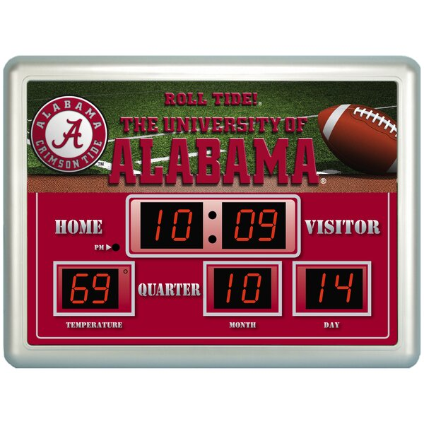 NCAA ScoreBoard Wall Clock with Thermometer by Team Sports America