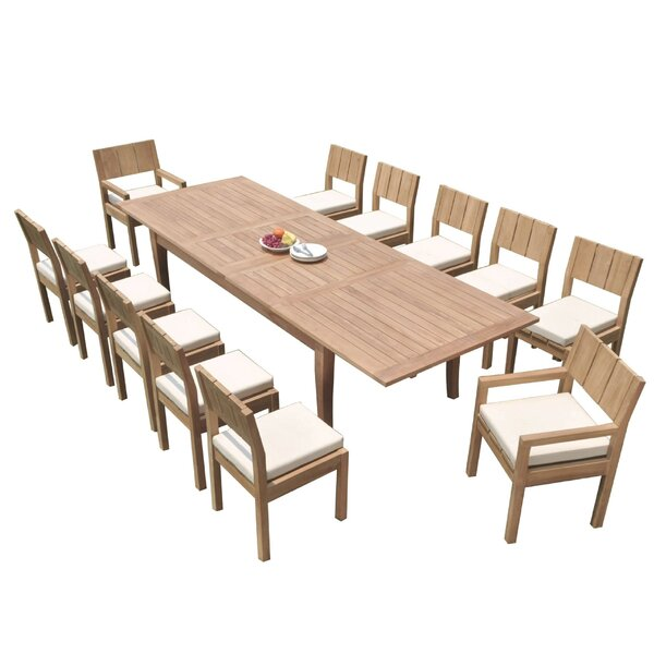 Lamont 13 Piece Teak Dining Set by Rosecliff Heights