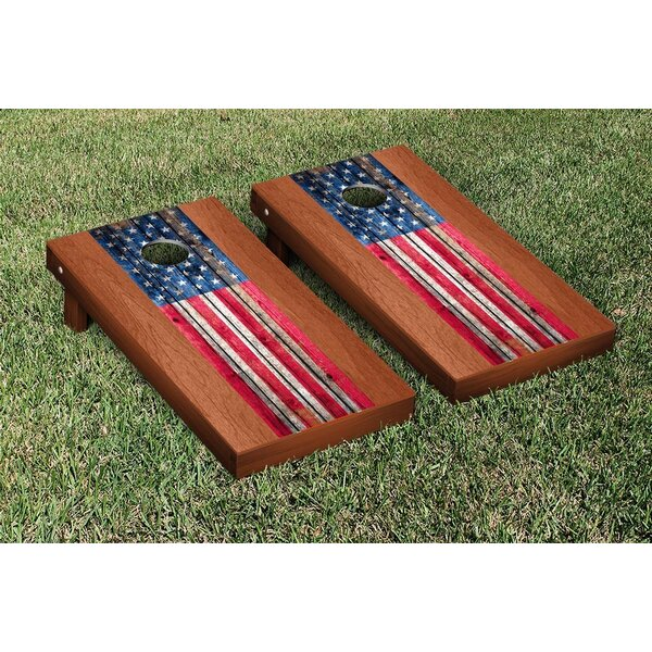 US Weathered Flag Rosewood Stained Stripe Version Cornhole Game Set by Victory Tailgate