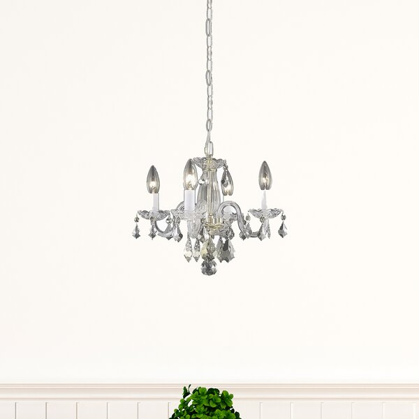 Azalea 4 - Light Candle Style Wagon Wheel Chandelier by Living District Living District