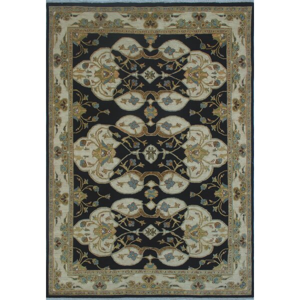 Longoria Chobi Knotted Wool Black Area Rug by Canora Grey
