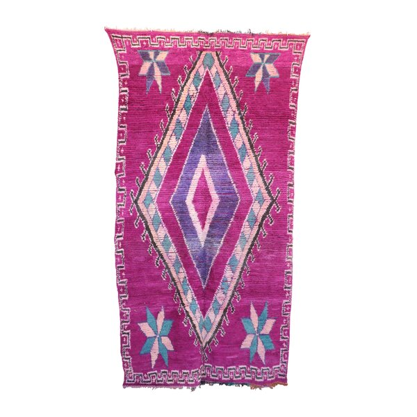 One-of-a-Kind Talsint Moroccan Hand-Knotted Wool Pink Area Rug by Indigo&Lavender