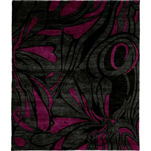 One-of-a-Kind Hagans Hand-Knotted Tibetan Gray/Purple 8' Square Wool Area Rug