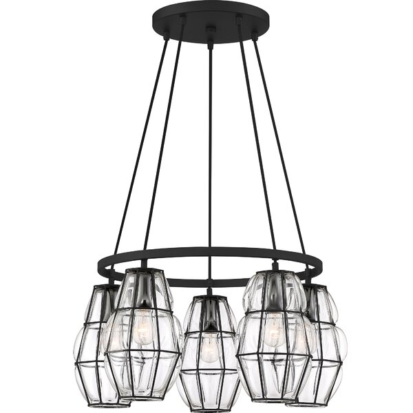 Maryport 5 - Light Shaded Wagon Wheel Chandelier by 17 Stories 17 Stories
