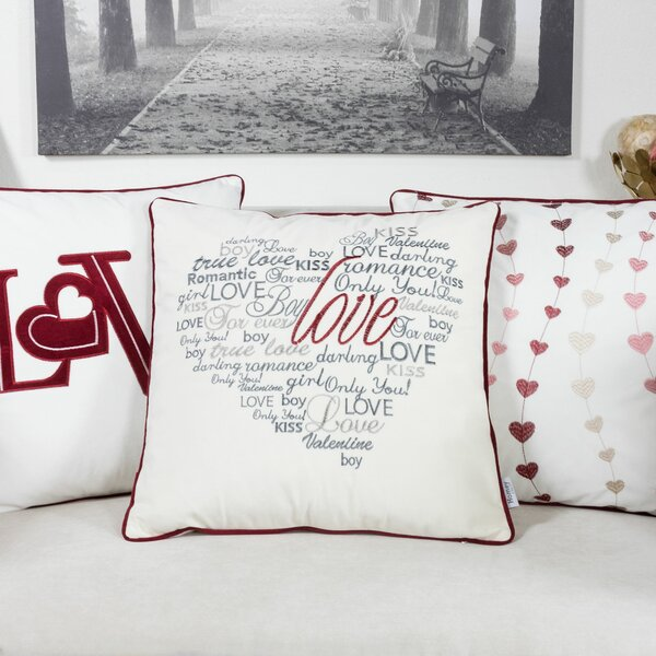 Duplantis Valentine Day Embroidery Velvet Throw Pillow by The Holiday Aisle
