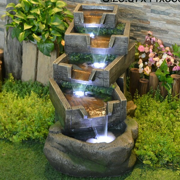 Resin Multi Level Pouring Garden Grates Fountain with Light by Hi-Line Gift Ltd.