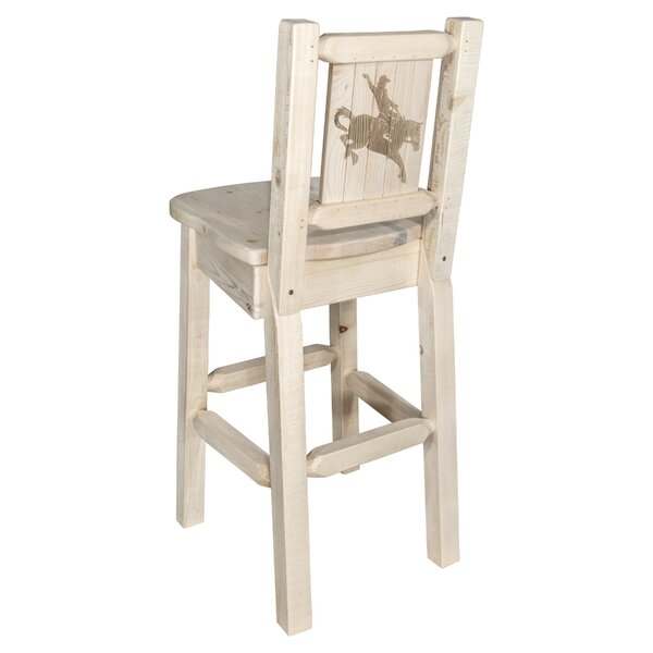 Haleigh 30 Barstool with Back and Laser Engraved Bronc Design by Mistana
