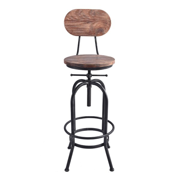 Poitras Adjustable Height Swivel Bar Stool by Gracie Oaks