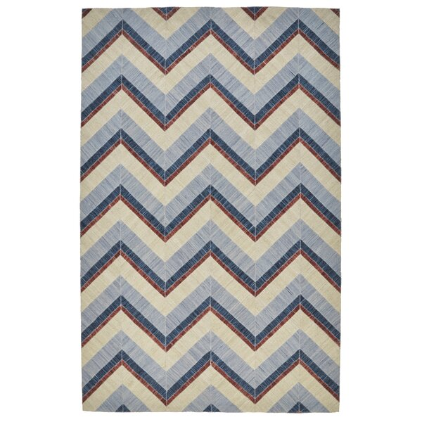 Cabrillo Hand-Knotted Blue/Ivory Area Rug by Ivy Bronx