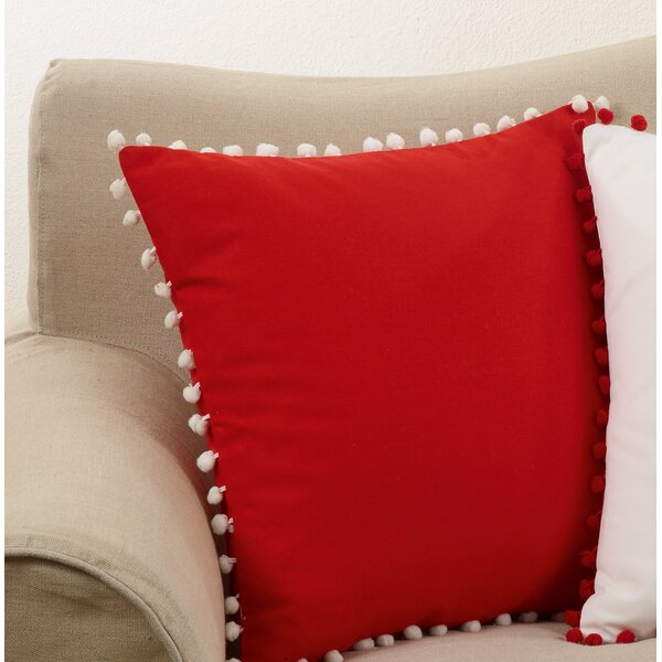 Pine Lake Pom Pom Trim Cotton Throw Pillow by Bungalow Rose