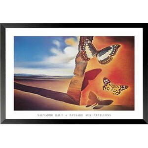 'Landscape with Butterflies' by Salvador Dali Framed Graphic Art Print by East Urban Home