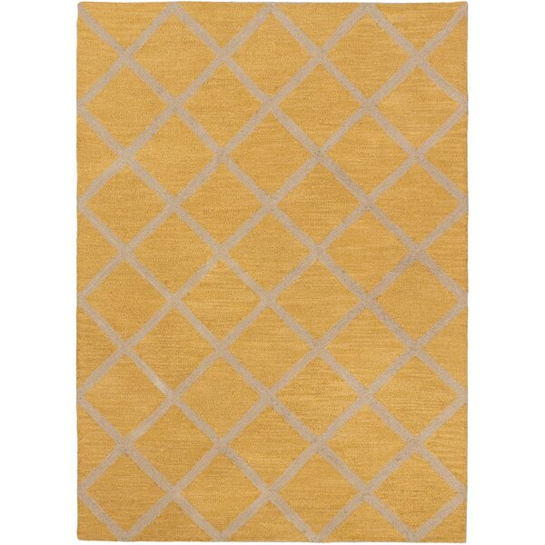 Griffing Transitional Hand Tufted Dark Gold Area Rug by Ivy Bronx