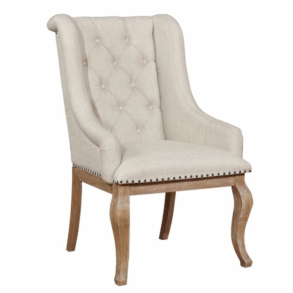 Garza Tufted Linen Upholstered Arm Chair in Beige (Set of 2) by One Allium Way One Allium Way