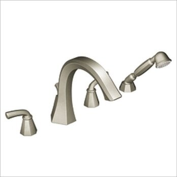 Felicity Double Handle Deck Mount Roman Tub Faucet Trim with Handshower  with Built-in Hand Shower Diverter by Moen
