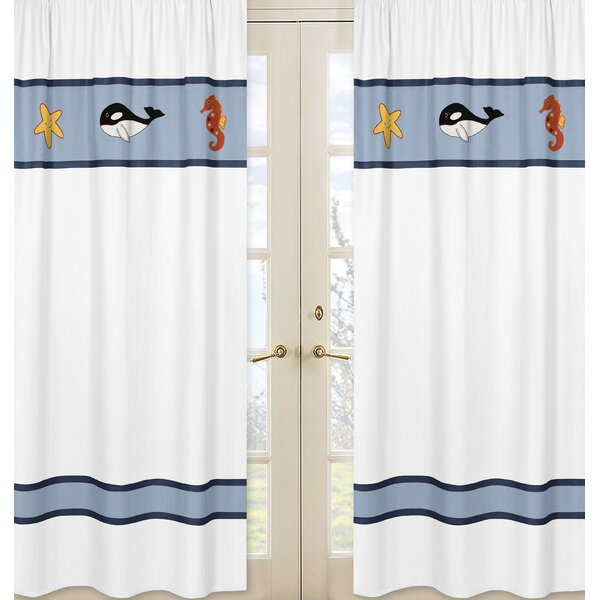 Ocean Blue Semi-Sheer Rod Pocket Curtain Panels (Set of 2) by Sweet Jojo Designs