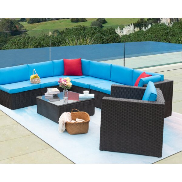 Pearlene 8 Piece Rattan Sectional Seating Group with Cushions by Latitude Run