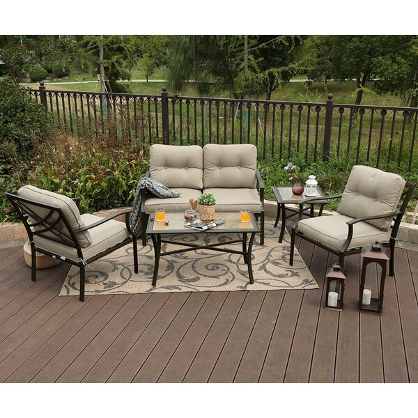 Loscalzo Patio 4 Piece Sofa Seating Group with Cushions by Winston Porter