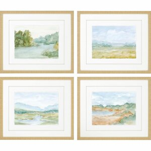 Watercolour 4 Piece Framed Painting Print Set by Paragon