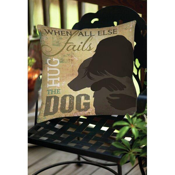 Hug the Dog Indoor/Outdoor Throw Pillow by Manual Woodworkers & Weavers