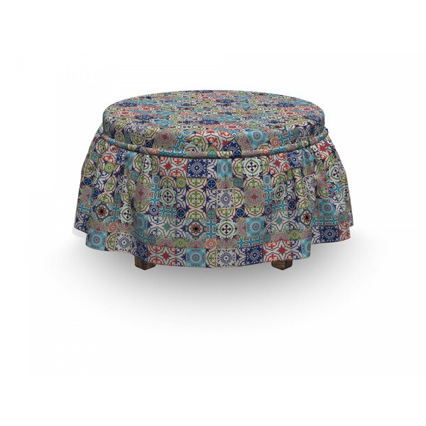 Moroccan Complex Floral Design 2 Piece Box Cushion Ottoman Slipcover Set By East Urban Home