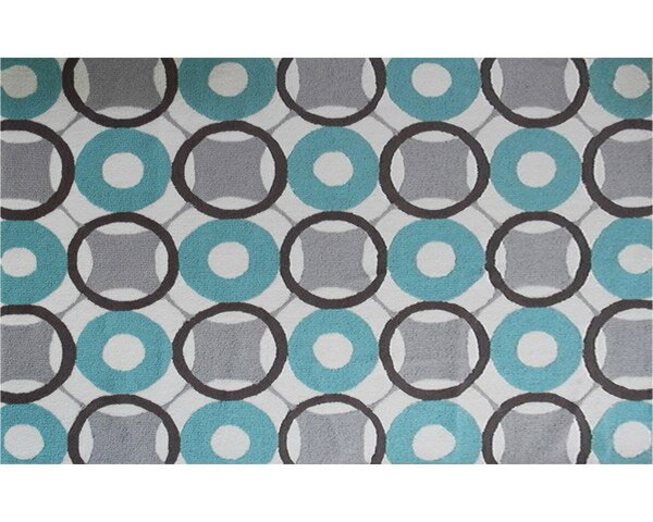 Vienna Hand-Hooked Blue/Grey Area Rug by Threadbind