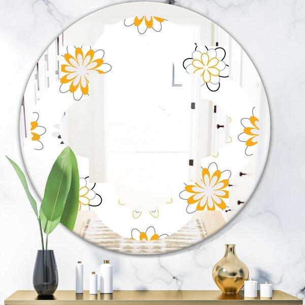 Floral Pattern VIII Quatrefoil Cottage AmericanaFrameless Wall Mirror