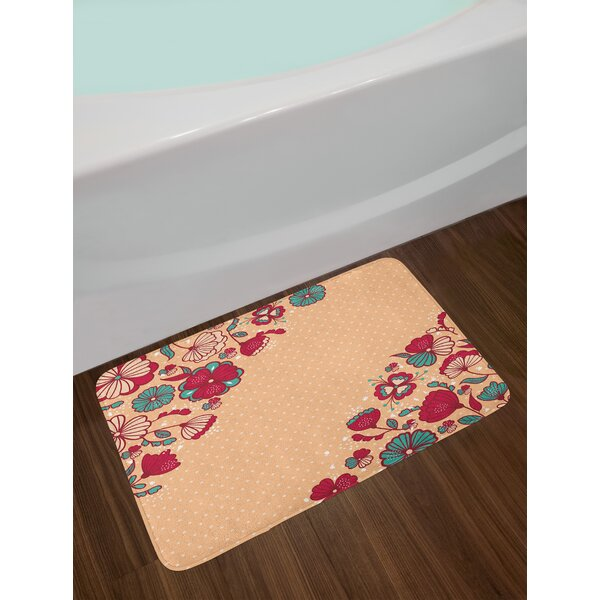 Nature Teal Floral Bath Rug by East Urban Home