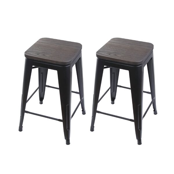 Shultis Adjustable Height Swivel Bar Stool Set Of 2 By