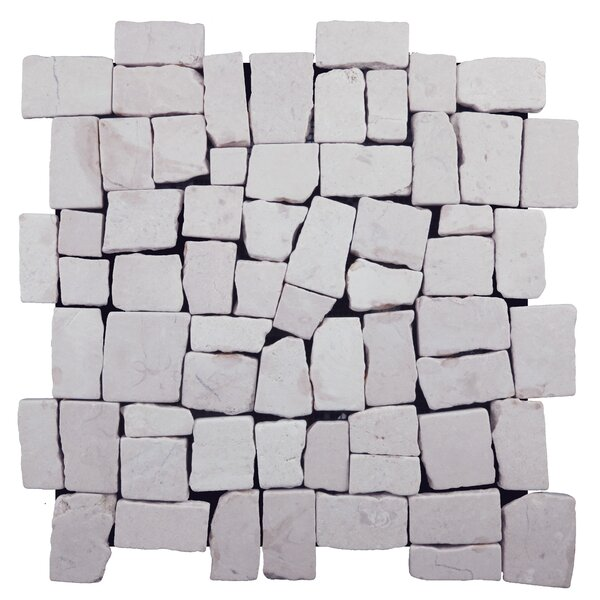 Blocks Random Sized Natural Stone Pebble Tile in White by Pebble Tile