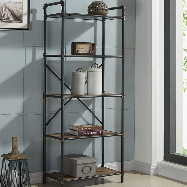 5 Tier Metal Pipe Etagere Bookcase by 17 Stories