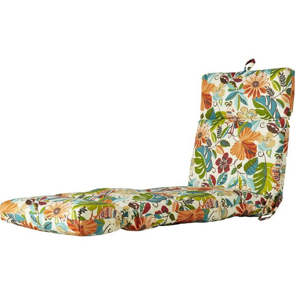 Indoor/Outdoor Floral And Bird Chaise Lounge Cushi