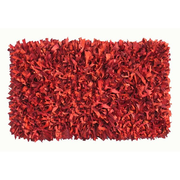 Thalassa Premium Leather Dark Red Rug by IXI