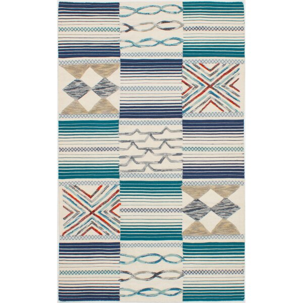 Greenwich Village Hand-Woven Wool Cream/Teal Area Rug by Bloomsbury Market