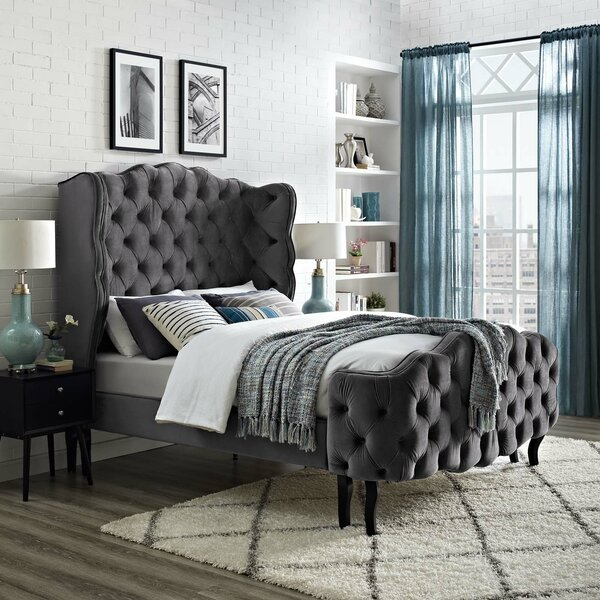 Mcbeth Tufted Wingback Performance Velvet Queen Upholstered Platform Bed by House of Hampton