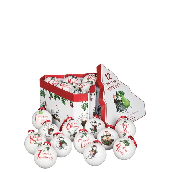 Days of Christmas 12 Piece Ball Ornament Set by The Holiday Aisle