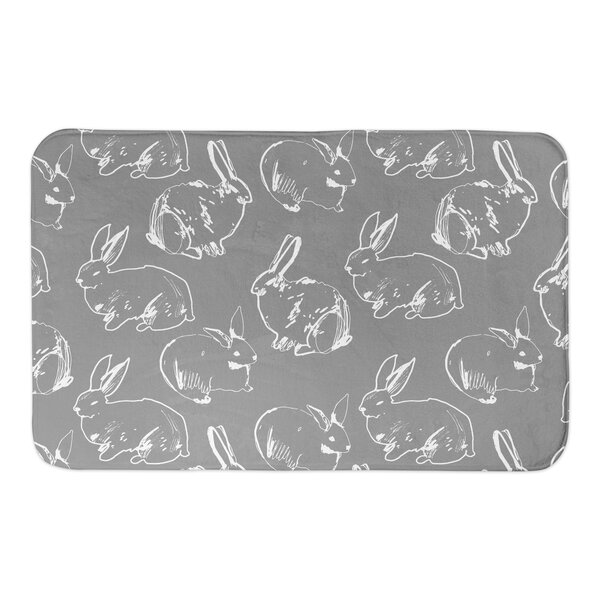Kershner Bunny Sketch Rectangle Non-Slip Animal Print Bath Rug