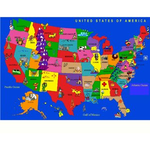 Fun Learning USA Cartoon Map Area Rug