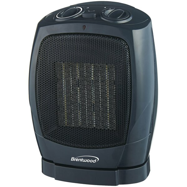 Oscillating Ceramic 1,500 Watt Electric Fan Compact Heater by Brentwood Appliances
