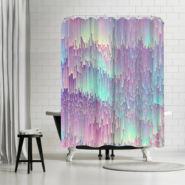 Emanuela Carratoni Iridescent Glitches Shower Curtain by East Urban Home