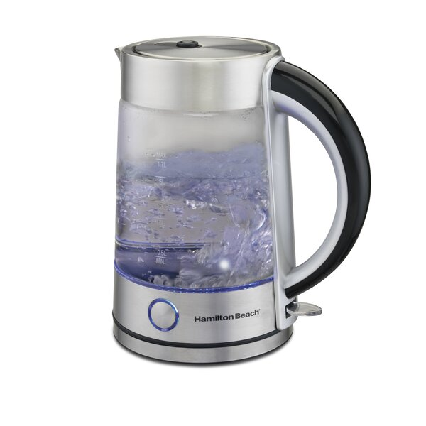 1 7 Qt Modern Glass Electric Tea Kettle By Hamilton Beach.
