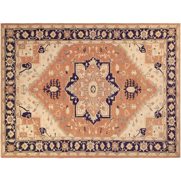 Barnegat Hand-Knotted Wool Orange/Blue Area Rug by Bloomsbury Market