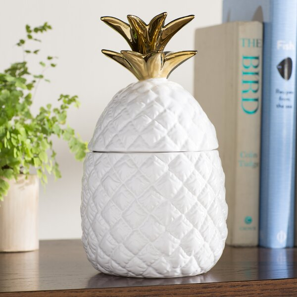 Gremillion White and Gold Ceramic Pineapple Jar by Beachcrest Home