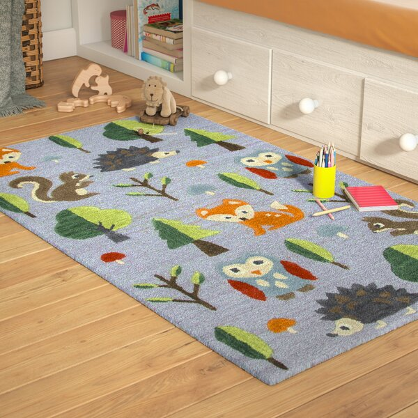 Ashlee Hand-Tufted Gray/Green Kids Rug by Zoomie Kids
