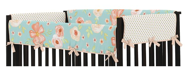 Watercolor Floral 2 Piece Crib Rail Guard Cover Set by Sweet Jojo Designs