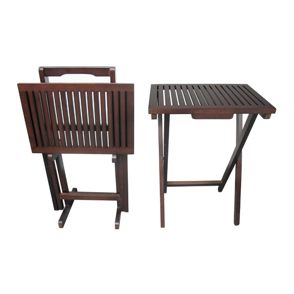 Mahogany 3 Piece Tray Table Set by D-Art Collection