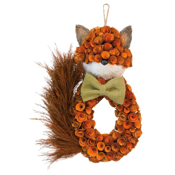 Foxy Fox 16 Willow and Burlap Wreath by August Grove