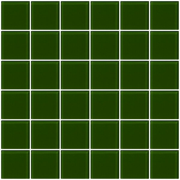 Bijou 22 2 x 2 Glass Mosaic Tile in Medium Dark Green by Susan Jablon