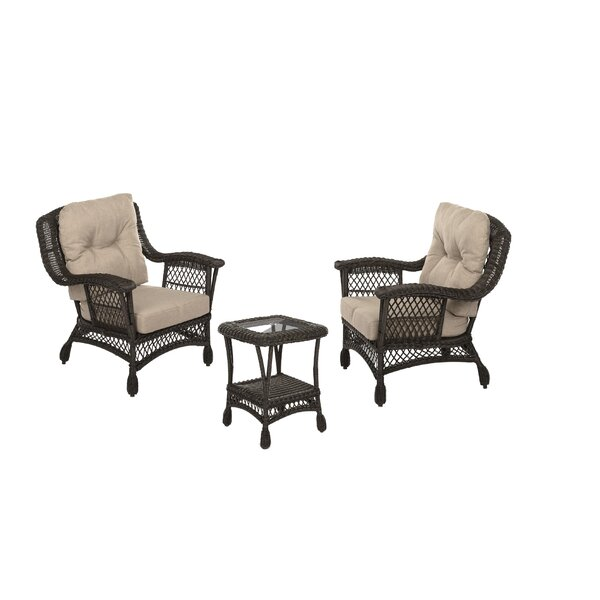 Depasquale Outdoor Garden Bristo 3 Piece Seating Group with Cushions by Highland Dunes